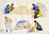 Figures shucking and sorting corn