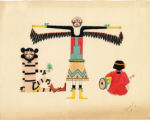 Drummer, central figure with black wings, and figure holding plant