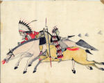 Two figures on horseback in battle