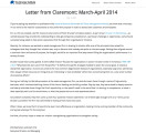 Letter from Claremont, March - April 2014